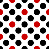 UK black + red diagonal polka dots on white