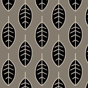 Leaves-midnight woodland-black/tan/taupe