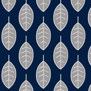 Leaves-navy/grey