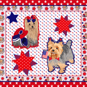 Yorkie Spirit Red w/stars Quilt Panel
