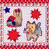 Yorkie Spirit Red w/stars Quilt Panel