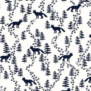 Fall forest foxes in navy