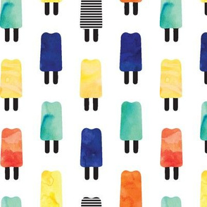 Watercolor Popsicles // blue