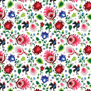 Rooster Floral Folklore Print