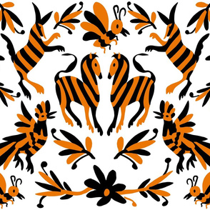 Orange and Black Mexican Otomi Print