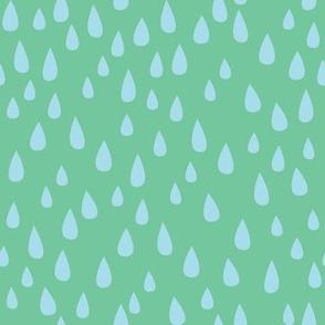 Dancing in the Rain - Green Raindrops