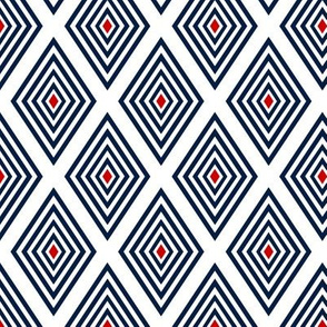 Red-centered Navy on white Op Art diamonds by Su_G