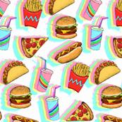 Painted Rainbow Fast Food on White