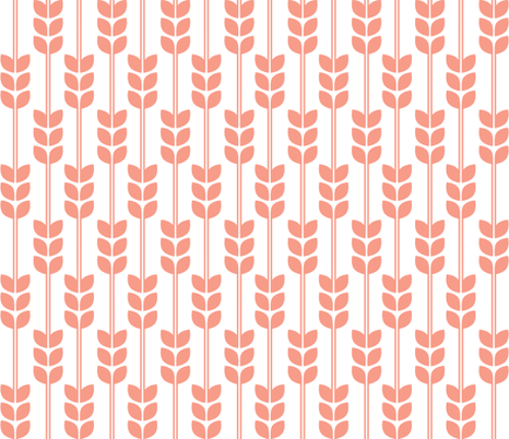 Wheat - Coral on White