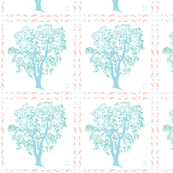 Forest Oak Tree in blue and pink Quilt Squares