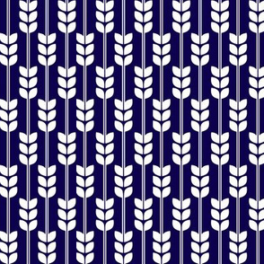 Wheat - White on Navy, Small