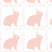 Baby Fabric pink and blue bunny rabbit Quilt Squares
