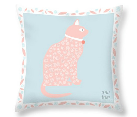 Baby Fabric  Cat in Pink and Blue With Leaves Quilt Squares