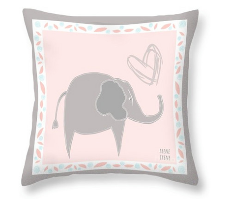 Baby Fabric  Baby Elephant Love in Pink Blue Gray Quilt Squares