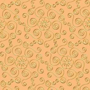 Fake Gold Hexagon Swirls on Peach