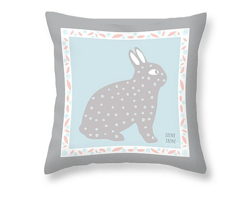 Baby Fabric  pink blue gray bunny rabbit Quilt Squares