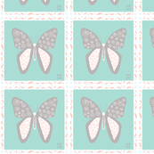 Baby Fabric  Butterfly in Blue and Gray Quilters Square