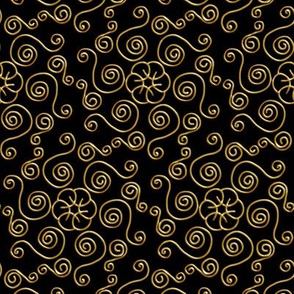 Gold Hexagon Swirls on Black