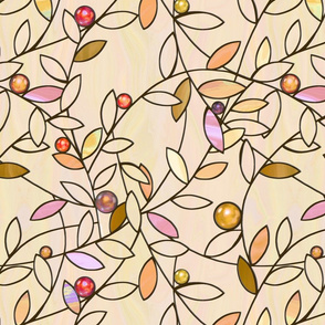 jeweled vines - warm beige