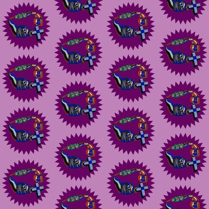Aqualung Fish, Pumpkin, Toothpaste and Cross on Purple Circle