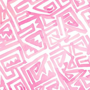 Ancient Modern Watercolor Maze pink