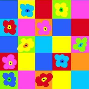 Op Art Floral Squares