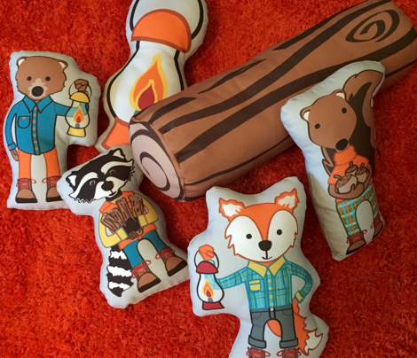 Happy Camper Pillows (Fox, Raccoon, Squirrel, Bear, Lantern, Log)