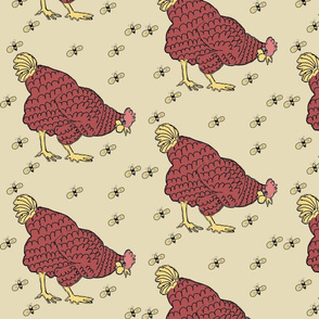 Chicken Hen and Honey Bees on the Farm Quilt Square