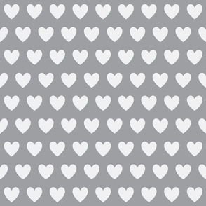 gray and white heart fabric