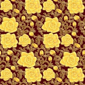Outlined Retro Roses Yellow