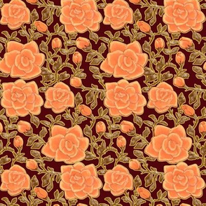Outlined Retro Roses Coral