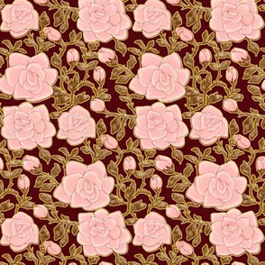 Outlined Retro Roses Pale Pink
