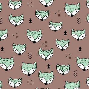 Cool gender neutral fall foxes scandinavian style woodland fabric with geometric details mint