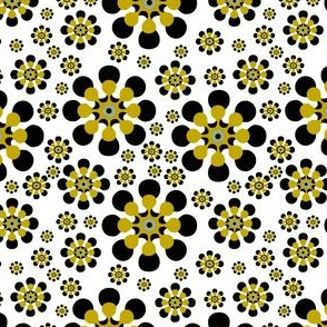 black and gold daisy abstract
