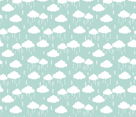 Cloud clouds rain raincloud mint nursery baby kids fabric for Grey nursery fabric
