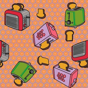 Toasters fly in peach hex + punch