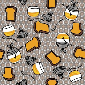 Toast + honey pots in muted colors