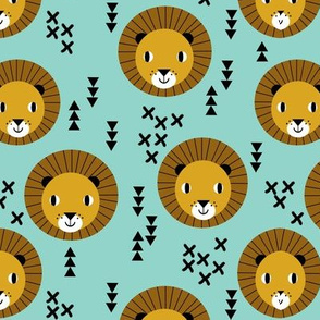 lion lions kids safari animal zoo boys mint gold mustard baby nursery