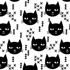 cat head black and white kids nursery baby girls sweet cat