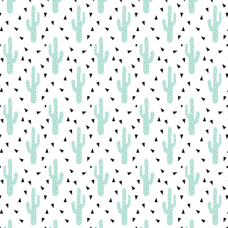 Cactus tri southwest cactus trend black and white mint for Black and white childrens fabric