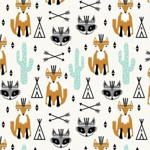 southwest animals nursery baby cactus triangle raccoon fox feathers arrows