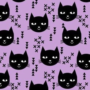 cat purple girls happy cat cute spring cat head
