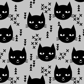 cat head grey cute happy cat triangles girls cats