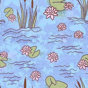 water lilies and cattails