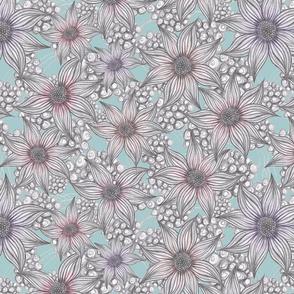 pastel pencil floral