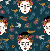 frida kahlo // hand drawn navy kids floral artist