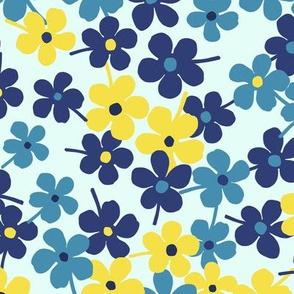 Flower Garden Blue Yellow