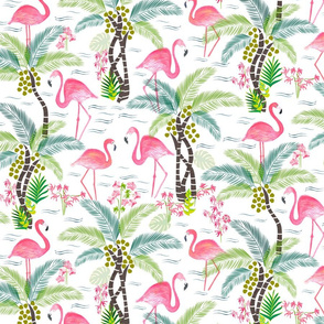 Watercolour Tropical Flamingoes