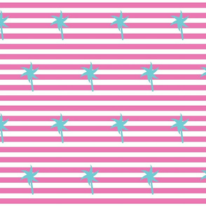 Preppy Palm Stripes MEDIUM  -berry seafoam