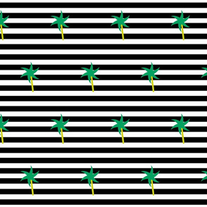 Emerald Palm Stripes MEDIUM - onyx snow